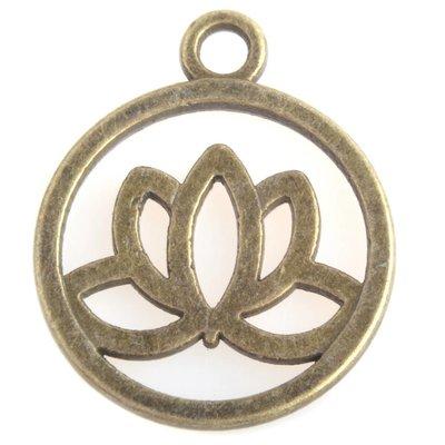 Antiek Goud Brons Bedel lotus Brons 24x20mm
