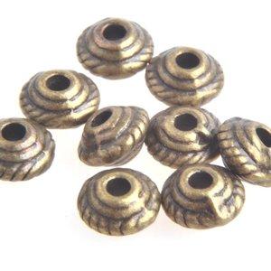 Antiek Goud Brons Kraal bicone Brons 5x3mm - 10 stuks
