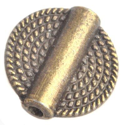 Antiek Goud Brons Kraal plat rond Brons 15mm