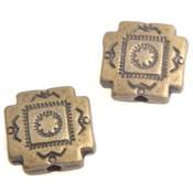 Antiek Goud Brons Kraal plat vierkant Brons 10x10mm