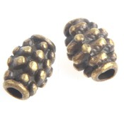 Antiek Goud Brons Kraal ovaal dots Brons 7x5mm - 8 stuks