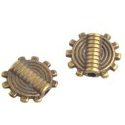 Antiek Goud Brons Kraal plat rond Brons 9,5mm - 8 stuks