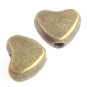 Antiek Goud Brons Kraal hartje Brons 6mm - 12 stuks