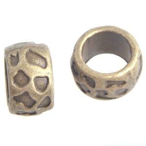 Antiek Goud Brons Kraal rond groot gat Ø9mm Brons 13x8mm