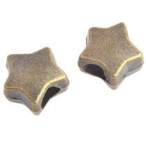 Antiek Goud Brons Kraal ster groot gat Ø4mm Brons 11x7mm - 3 stuks