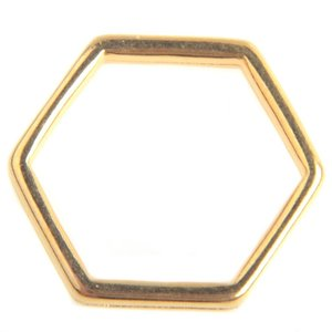 Goud Ring hexagon Goud DQ 16mm