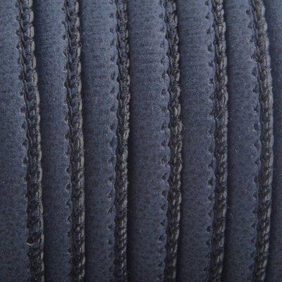 Blauw Imitatie leer Donker nacht blauw 6x4mm - prijs per 20cm