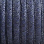 Blauw Imitatie leer Reptiel donker blauw 6x4mm - prijs per 20cm
