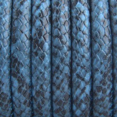 Blauw Imitatie leer Snake aqua 6x4mm - prijs per 20cm