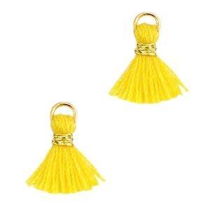 Geel Mini Ibiza kwastje Goud-Mimosa yellow 10mm