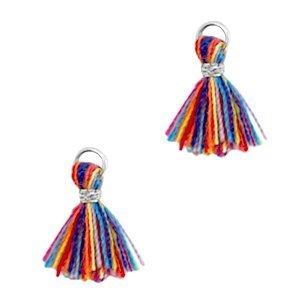 Multicolor Mini Ibiza kwastje Zilver-Multicolor rood blauw 10mm