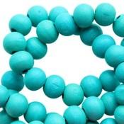 Turquoise Houten kralen rond Dark teal turquoise blue 6mm - 50 stuks