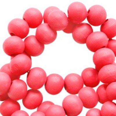 Rood Houten kralen rond Fiesta red 6mm - 50 stuks