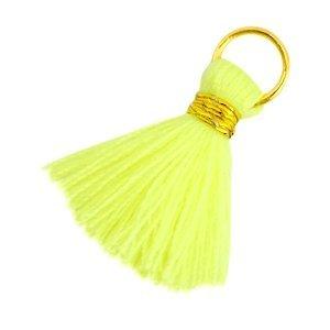 Geel Ibiza kwastje Goud-Neon geel 20mm