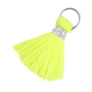 Geel Ibiza kwastje Zilver-Neon geel 20mm