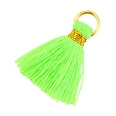 Groen Ibiza kwastje Goud-Neon groen 20mm