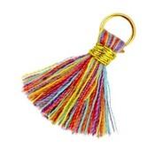 Multicolor Ibiza kwastje Goud-Multicolor rood geel 20mm