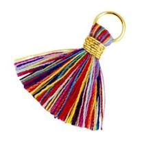 Multicolor Ibiza kwastje Goud-Multicolor rood blauw 20mm