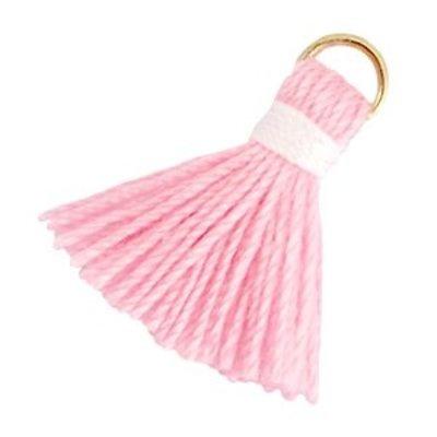 Roze Ibiza kwastje Goud-Roze wit 20mm