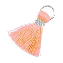Oranje Ibiza kwastje Zilver-Neon peach 20mm