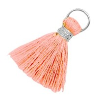 Roze Ibiza kwastje Zilver-Rose peach 20mm