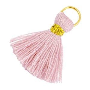 Roze Ibiza kwastje Goud-Antique pink 20mm
