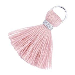 Roze Ibiza kwastje Zilver-Antique pink 20mm