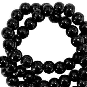 Zwart Opaque glaskraal rond Black 3mm - 125 stuks