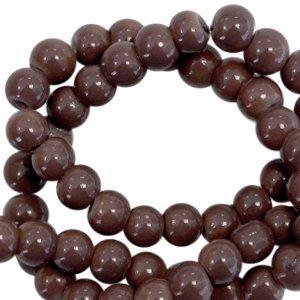 Bruin Opaque glaskraal rond Dark chocolate brown 3mm - 125 stuks