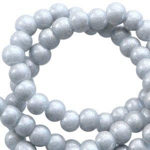 Grijs Opaque glaskraal rond Metallic steel grey 3mm - 125 stuks