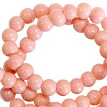 Oranje Opaque glaskraal rond Rose peach 3mm - 125 stuks