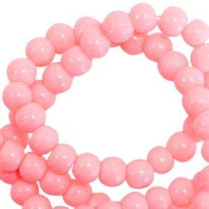 Roze Opaque glaskraal rond Neon coral pink 3mm - 125 stuks