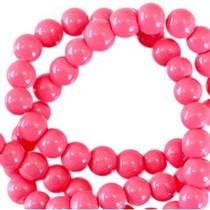 Roze Opaque glaskraal rond Raspberry rose 3mm - 125 stuks