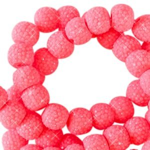 Roze Sparkling beads Fiery coral pink 8mm - 10 stuks