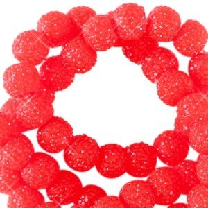 Rood Sparkling beads Candy red 8mm - 10 stuks