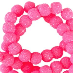 Roze Sparkling beads Neon pink 8mm - 10 stuks