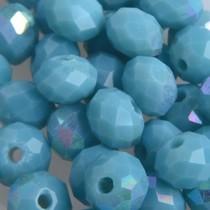 Turquoise Facet rondel turquoise blauw AB 6x4mm - 45 stuks