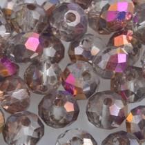 Multicolor Facet rondel grijs metallic pink 6x4mm - 45 stuks