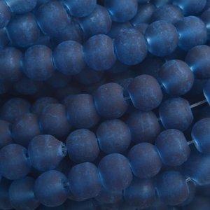 Blauw Glaskralen rond mat donker blauw 6mm - 50 stuks