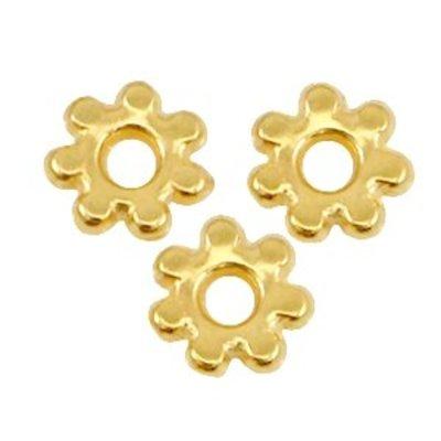 Goud Kraal metaal Bali ring Goud DQ 4.8x1.3mm