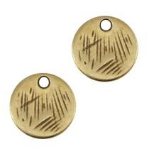 Antiek Goud Brons Bedel muntje DQ 9mm