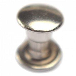 Zilver Inslagstud glad voor leer zilver 6.5mm