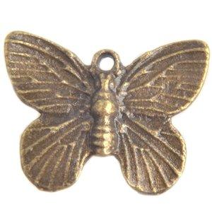 Antiek Goud Brons Bedel vlinder Brons 18x15mm - 5 stuks