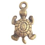 Antiek Goud Brons Bedel schildpad Brons 19x10mm - 4 stuks
