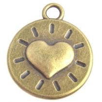 Antiek Goud Brons Bedel munt hart Brons 23x18mm - 3 stuks
