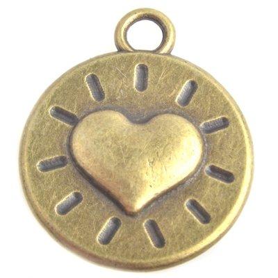 Antiek Goud Brons Bedel munt hart Brons 22x18mm - 3 stuks