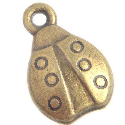 Antiek Goud Brons Bedel lieveheersbeestje Brons 15x10mm - 4 stuks