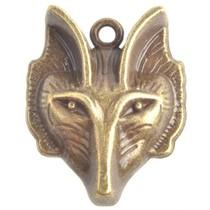 Antiek Goud Brons Bedel wolf Brons 30x23mm