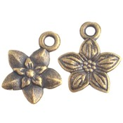 Antiek Goud Brons Bedel bloemetje Brons 14x12mm - 10 stuks