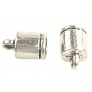 Zilver Eindkap Ø4mm streep Zilver 10x6mm - 4 stuks